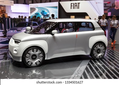 GENEVA, SWITZERLAND - MARCH 6, 2019: Fiat CentoVenti electric concept car showcased at the 89th Geneva International Motor Show.