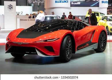 GENEVA, SWITZERLAND - MARCH 6, 2019: Electric GFG Style Kangaroo supercar revealed at the 89th Geneva International Motor Show.