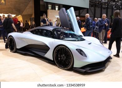 GENEVA, SWITZERLAND - MARCH 6, 2019: Aston Martin AM-RB 003 sports car reveiled at the 89th Geneva International Motor Show.