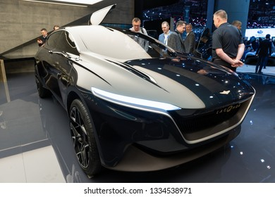GENEVA, SWITZERLAND - MARCH 6, 2019: All-electric Aston Martin Lagonda All-Terrain concept car showcased at the 89th Geneva International Motor Show.