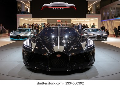 GENEVA, SWITZERLAND - MARCH 6, 2019: One-off 19 million dollar Bugatti La Voiture Noire supercar debut at the 89th Geneva International Motor Show.