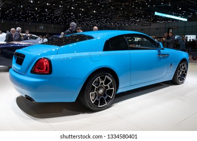 GENEVA, SWITZERLAND - MARCH 6, 2019: Rolls-Royce Wraith car showcased at the 89th Geneva International Motor Show.