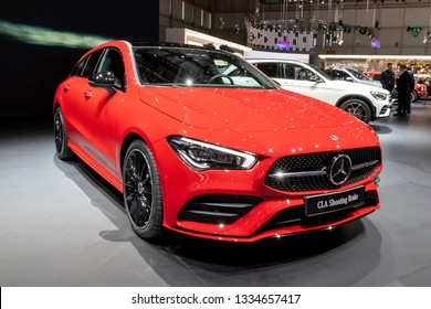 GENEVA, SWITZERLAND - MARCH 6, 2019: Mercedes Benz CLA Shooting Brake car debut at the 89th Geneva International Motor Show.