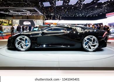 GENEVA, SWITZERLAND - MARCH 6, 2019: One-off 19 million dollar Bugatti La Voiture Noire super car debut at the 89th Geneva International Motor Show.