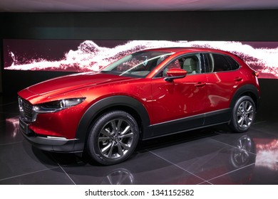 GENEVA, SWITZERLAND - MARCH 6, 2019: New Mazda CX-30 crossover car debuts at the 89th Geneva International Motor Show