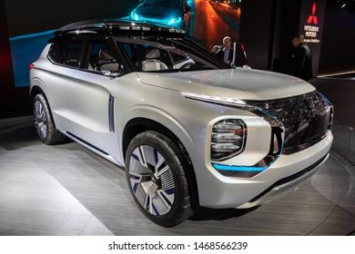 GENEVA, SWITZERLAND - MARCH 6, 2019: Mitsubishi Engelberg Tourer Concept car debuts at the 89th Geneva International Motor Show.