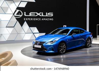 GENEVA, SWITZERLAND - MARCH 6, 2019: Lexus RC 300h car showcased at the 89th Geneva International Motor Show.
