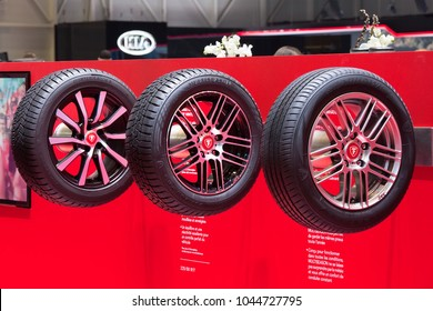 GENEVA, SWITZERLAND - March, 6th, 2018: Sample tyres in Firestone exhibition stand in 88th Geneva International Motor Show in Palexpo
