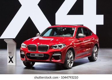 GENEVA, SWITZERLAND - March 6th, 2018: BMW X4 in BMW AG exhibition site in 88th Geneva International Motor show in Palexpo