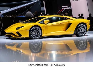 GENEVA, SWITZERLAND - MARCH 7, 2017: Lamborghini Aventador S sports car showcased at the 87th Geneva International Motor Show