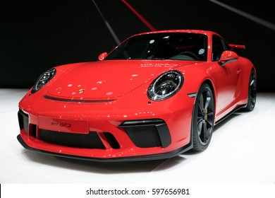 GENEVA, SWITZERLAND - MARCH 7, 2017: New 2018 Porsche 911 GT3 sports car presented at the 87th Geneva International Motor Show.