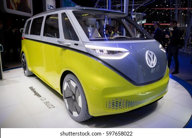 GENEVA, SWITZERLAND - MARCH 7, 2017: New electric Volkswagen I.D. Buzz van presented at the 87th Geneva International Motor Show.