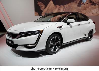 GENEVA, SWITZERLAND - MARCH 7, 2017: Honda Clarity Fuel Cell car presented at the 87th Geneva International Motor Show.