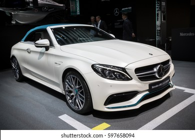 GENEVA, SWITZERLAND - MARCH 7, 2017: New Mercedes-AMG C 63 S Cabriolet car presented at the 87th Geneva International Motor Show.