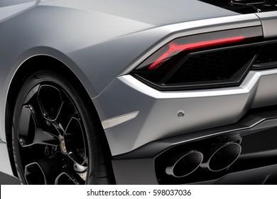 GENEVA, SWITZERLAND - MARCH 7, 2017: Lamborghini Huracan sports car presented at the 87th Geneva International Motor Show.