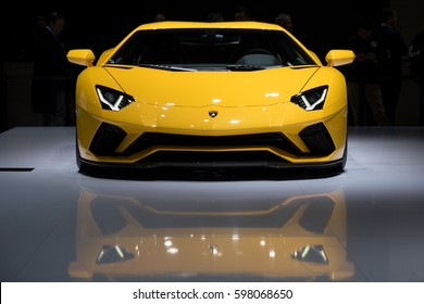 GENEVA, SWITZERLAND - MARCH 7, 2017: Lamborghini Aventador S sports car presented at the 87th Geneva International Motor Show.
