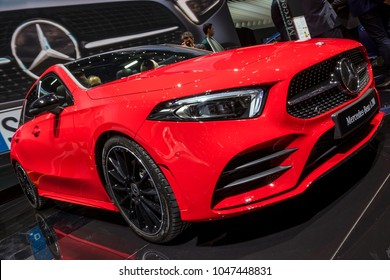 GENEVA, SWITZERLAND - MARCH 7, 2018: Mercedes Benz A200 car presented at the 88th Geneva International Motor Show.