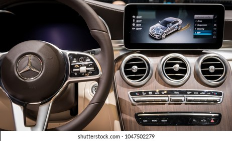 GENEVA, SWITZERLAND - MARCH 7, 2018: Interior view of the New Mercedes-Benz C-class C200 car presented at the 88th Geneva International Motor Show.