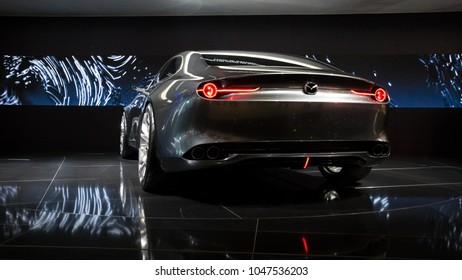 GENEVA, SWITZERLAND - MARCH 7, 2018: Mazda Vision Coupe concept car showcased at the 88th Geneva International Motor Show.