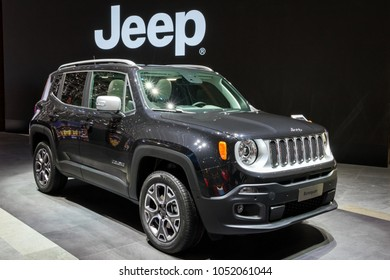 GENEVA, SWITZERLAND - MARCH 7, 2018: Jeep Renegade compcat crossover car showcased at the 88th Geneva International Motor Show.