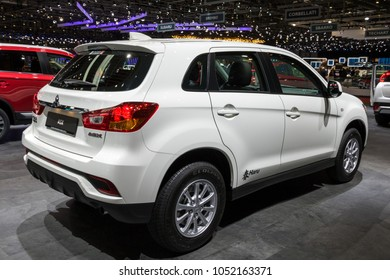 GENEVA, SWITZERLAND - MARCH 7, 2018: New Mitsubishi ASX compact SUV car showcased at the 88th Geneva International Motor Show.