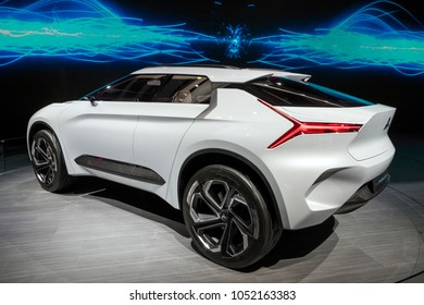 GENEVA, SWITZERLAND - MARCH 7, 2018: Mitsubishi E-Volution electric concept car showcased at the 88th Geneva International Motor Show.