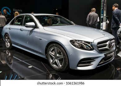 GENEVA, SWITZERLAND - MARCH 7, 2018: New Mercedes Benz E-Class Diesel Hybrid car showcased at the 88th Geneva International Motor Show.