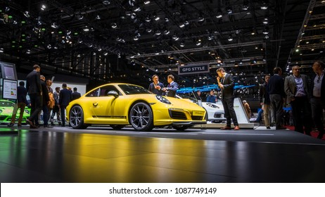 GENEVA, SWITZERLAND - MARCH 7, 2018: Porsche 911 Carrera T sports car shown at the 88th Geneva International Motor Show.