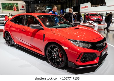 GENEVA, SWITZERLAND - MARCH 7, 2018: Honda Civic Type-R sportive hatchback car presented at the 88th Geneva International Motor Show.