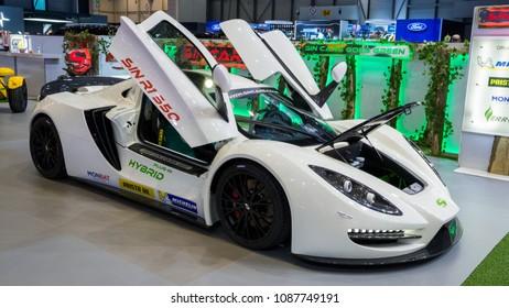 GENEVA, SWITZERLAND - MARCH 7, 2018: Sin Cars Sin R1 550 plug-in hybrid sports car showcased at the 88th Geneva International Motor Show.