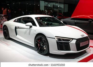 GENEVA, SWITZERLAND - MARCH 7, 2018: Audi R8 V10 RWS sports car showcased at the 88th Geneva International Motor Show.