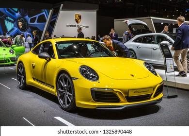 GENEVA, SWITZERLAND - MARCH 7, 2018: Porsche 911 Carrera T sports car showcased at the 88th Geneva International Motor Show.