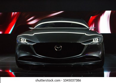GENEVA, SWITZERLAND - March 7th, 2018: Mazda Vision Coupe concept in Mazda exhibition site in 88th Geneva International Motor show in Palexpo