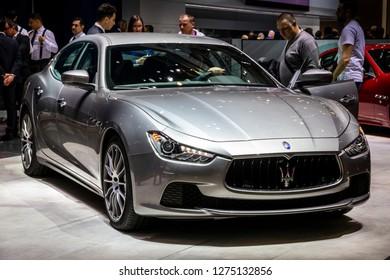 GENEVA, SWITZERLAND - MARCH 8, 2017: Maserati Ghibli car showcased at the 87th Geneva International Motor Show.