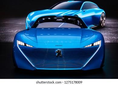 GENEVA, SWITZERLAND - MARCH 8, 2017: Peugeot Instinct autonomous concept car showcased at the 87th Geneva International Motor Show.