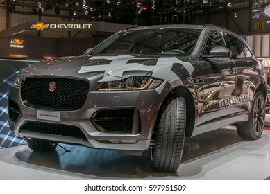 GENEVA, SWITZERLAND - MARCH 8, 2017:  Launch of the F-Pace at the Jaguar stand at the Geneva International Motor Show