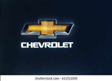 GENEVA, SWITZERLAND – MARCH 8, 2017: A Chevrolet sign at the Geneva Motor Show.