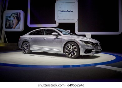 Geneva, Switzerland - March 8, 2017: 2018 Volkswagen Arteon presented on the 87-th Geneva International Motor Show in the PalExpo