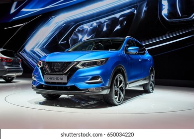 Geneva, Switzerland - March 8, 2017: 2017 Nissan Qashqai presented on the 87-th Geneva International Motor Show in the PalExpo