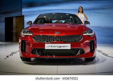 Geneva, Switzerland - March 8, 2017: 2017 KIA Stinger presented on the 87-th Geneva International Motor Show in the PalExpo