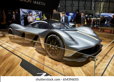 Geneva, Switzerland - March 8, 2017: 2017 Aston Martin Valkyrie presented on the 87-th Geneva International Motor Show in the PalExpo