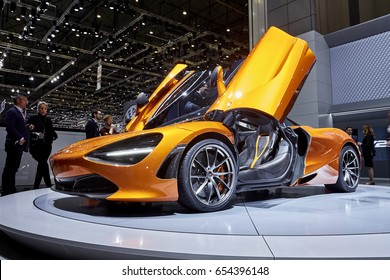 Geneva, Switzerland - March 8, 2017: 2017 McLaren 720S presented on the 87-th Geneva International Motor Show in the PalExpo