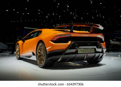 Geneva, Switzerland - March 8, 2017: 2017 Lamborghini Huracan Perfomante presented on the 87-th Geneva International Motor Show in the PalExpo
