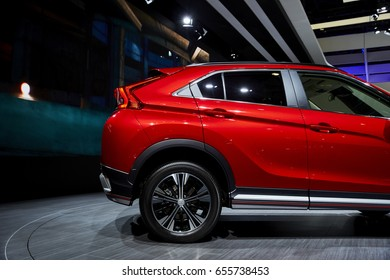 Geneva, Switzerland - March 8, 2017: 2017 Mitsubishi Eclipse Cross presented on the 87-th Geneva International Motor Show in the PalExpo