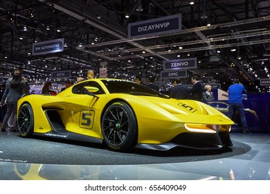 Geneva, Switzerland - March 8, 2017: 2017 Pininfarina Fittipaldi EF7 Vision Gran Turismo presented on the 87-th Geneva International Motor Show in the PalExpo