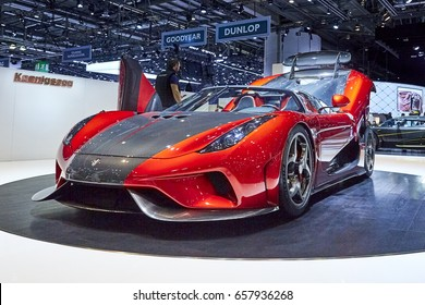 Geneva, Switzerland - March 8, 2017: 2017 Koenigsegg Regera presented on the 87-th Geneva International Motor Show in the PalExpo