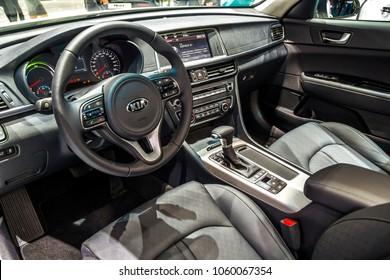 Geneva, Switzerland - March 8, 2018: New Kia Ceed Soul EV electric car interior during presentation on motor show.