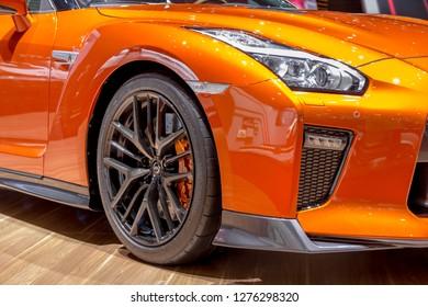 GENEVA, SWITZERLAND - MARCH 8, 2018: Orange Nissan GT-R at Geneva International Motor Show.