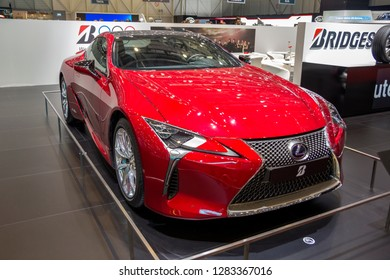 GENEVA, SWITZERLAND - MARCH 8, 2018: LEXUS LC 500 H Superfast sports car at Geneva International Motor Show.