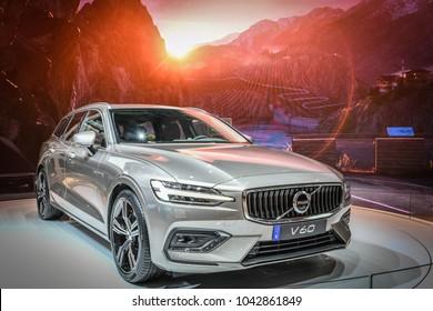 GENEVA, SWITZERLAND - MARCH 9, 2018: Geneva International Motor Show 2018, New Volvo V60